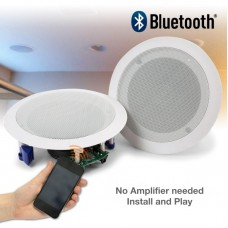 "(PAC066) BLUETOOTH POWERED CEILING SPEAKER KIT 6.5"" ROUND 2-WAY CO-AXIAL (PAIR)"